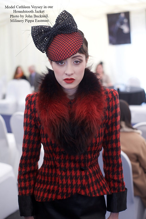 Red Houndstooth Tufted Wool Jacket