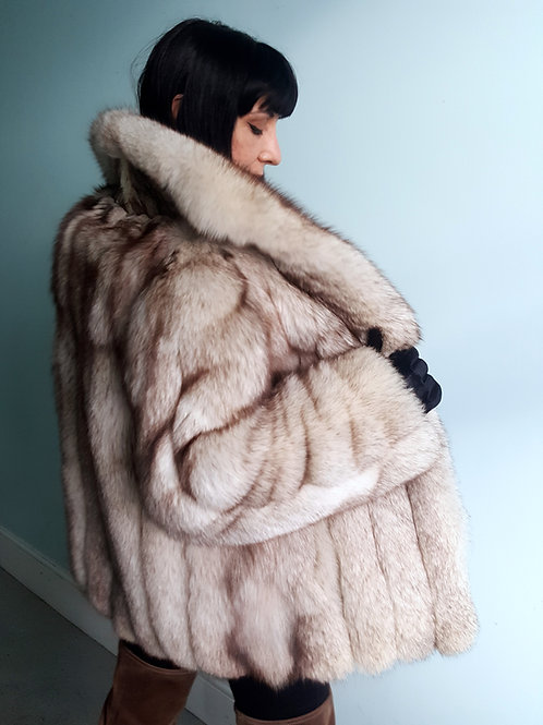 Late 1970s Blue fox fur jacket