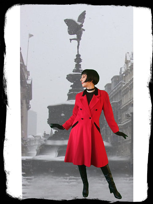Red Mansfield Riding/equestrian inspired coat with black velvet accents