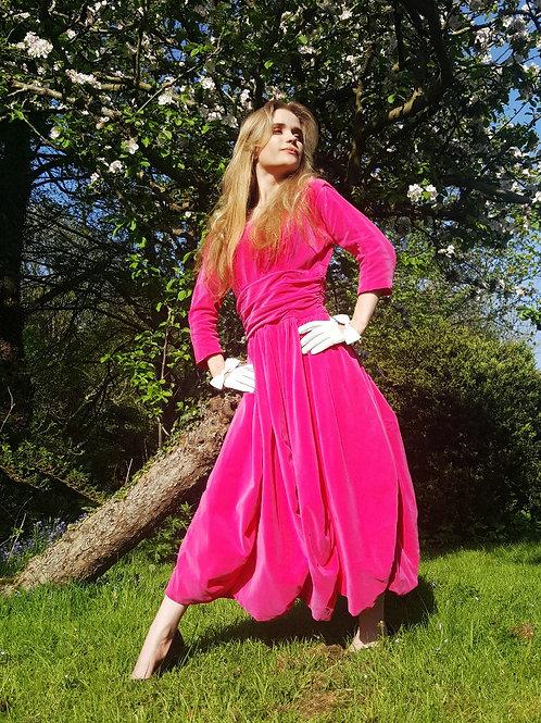 1950s Original fuscia pink velvet balloon gown size 6 to 8 UK