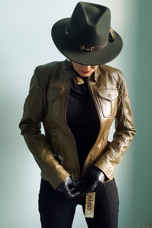 Fitted Olive green Waxed Leather Jacket