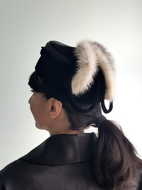 Vintage black velvet pill box hat with Black cross mink tails