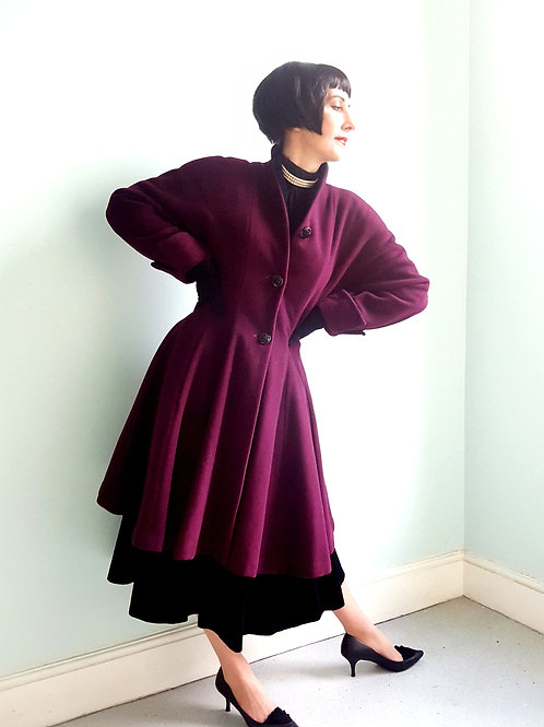 Amazing Italian cashmere wool  'Dior New Look' inspired 80s does 40s/50s coat