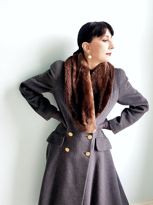 Luxurious Pure Virgin wool Rena Lange fit & flare couture coat