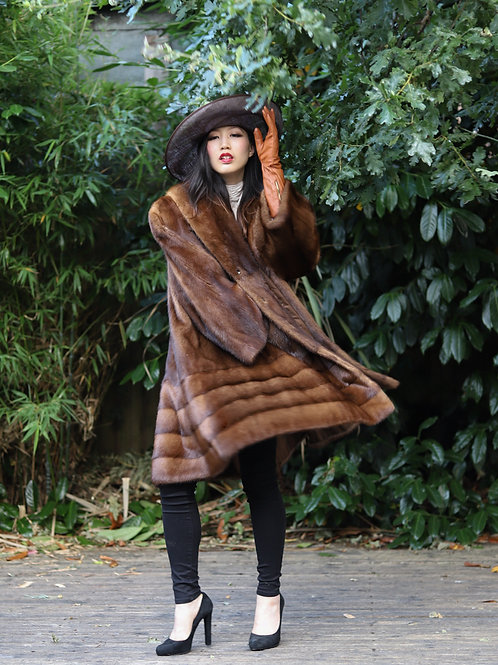Vintage Swing style 1940s inspired Whiskey Mink Coat