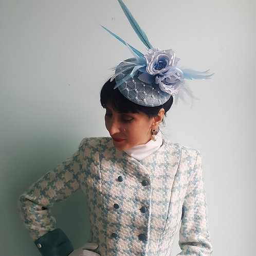 Pale blue Millinery piece with silk flowers & matching feathers Zorica Z design