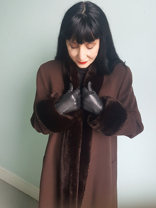 Iconic Mansfield Cashmere Wool & faux fur coat