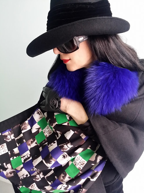 Luxury Cashmere Montpelier Wrap with Pop Art lining