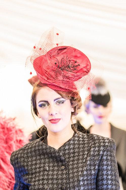 Pippa Eastman Millinery red veil hat