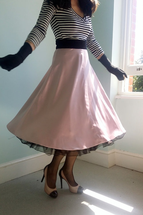 'Jayne M' Pale Pink Circle skirt by Zorica Z with black velvet waistband