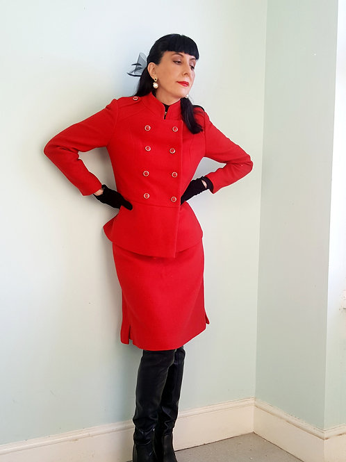 Fabulous 1960s Frank Russell Mansfield Red Wool suit