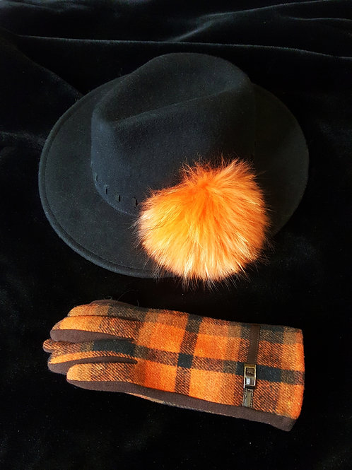 Hat & Glove set: Black trilby with orange pom
