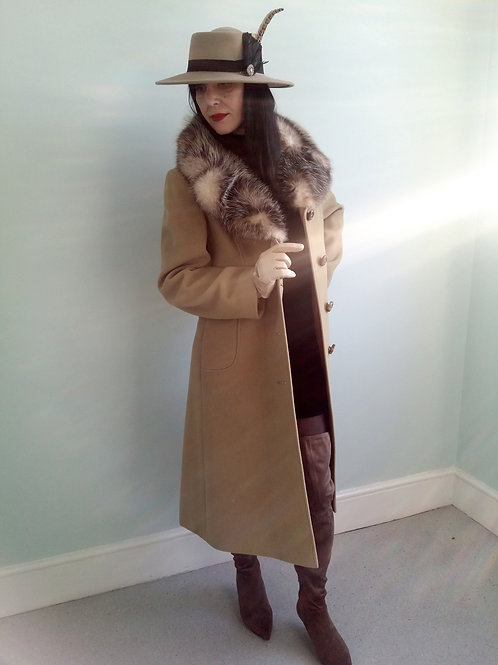 Vintage Alexon Pure New Wool Coat with real fur collar