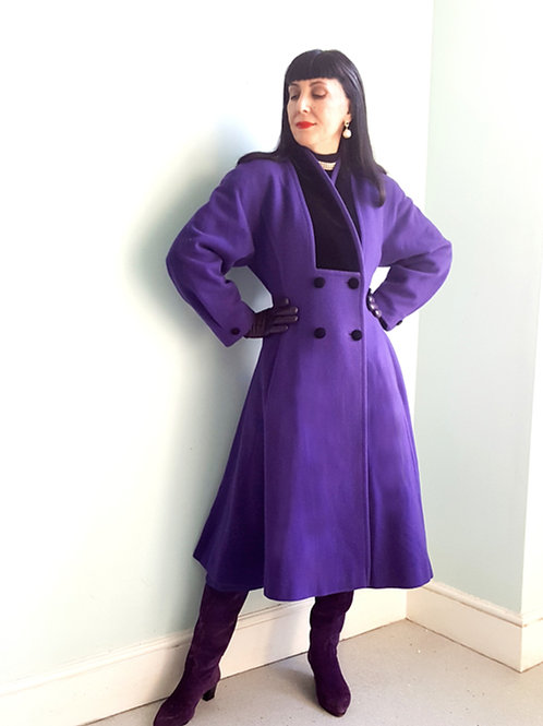 Windsmoor Iconic Purple Fit and Flare Vintage Riding Coat