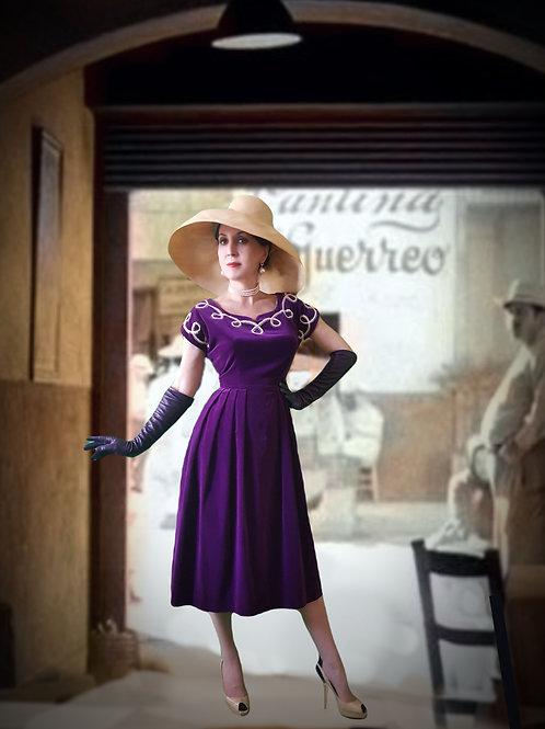 Late 1940s  purple velvet dress Teena Paige  beautiful stitchwork design