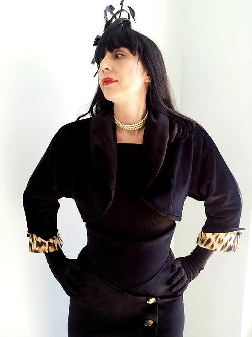 'Panthera' 'Ava' Velvet Bolero with Leopard print satin lining by Zorica Z