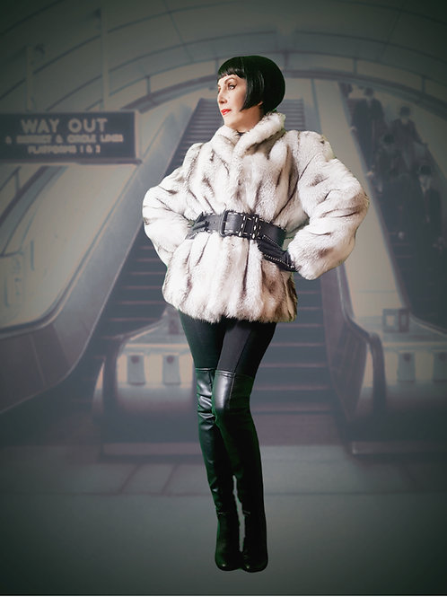 Gorgeous white black tipped Cotton faux fur jacket c 1978