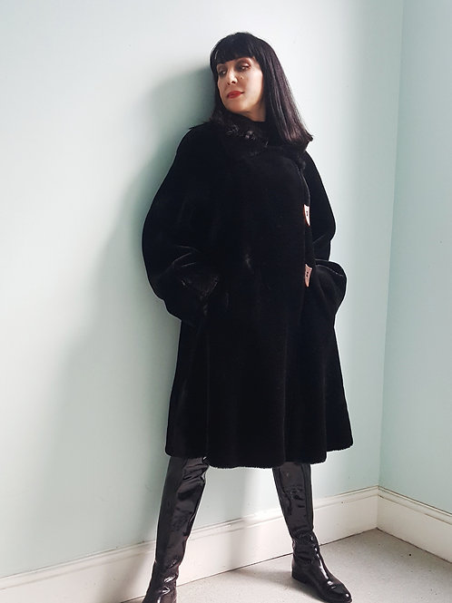 Vintage Wallis black faux fur swing coat