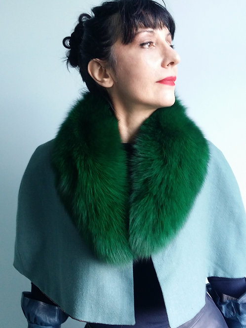 Emerald Green Fur Collar