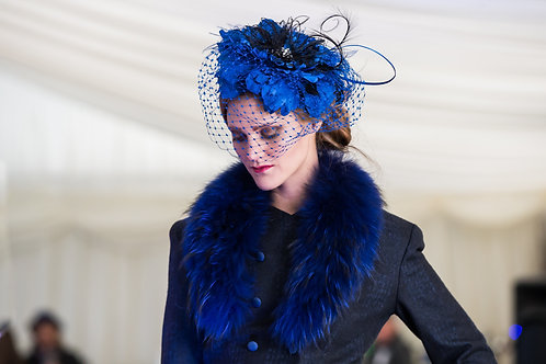 Royal Blue Floral inspired Pippa Eastman Millinery piece