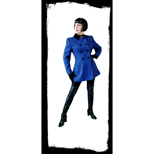 Mansfield Royal Blue Wool/black velvet fitted equestrian inspired Riding Jacket