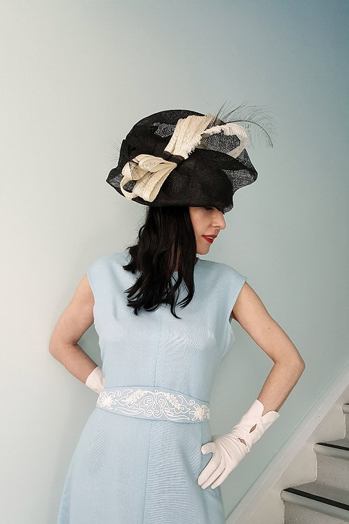 Pippa Eastman Black and Ivory sinamay hat