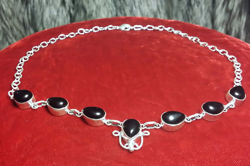 Sterling silver plated necklace black onyx stones
