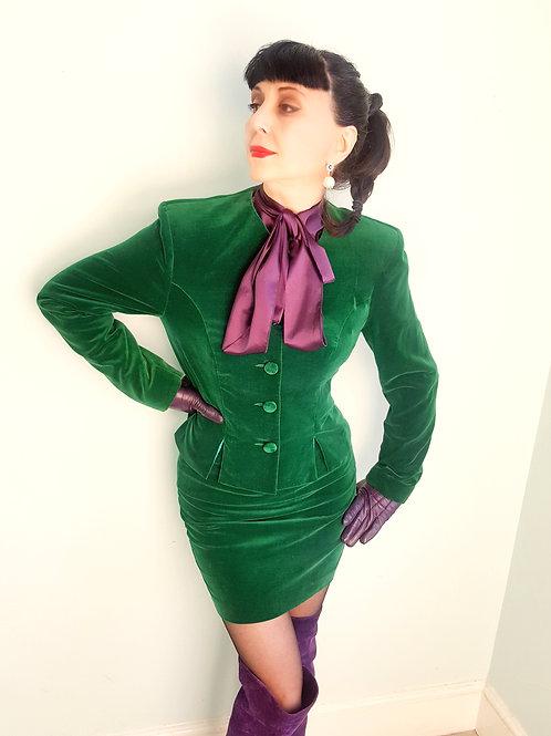 Emerald Green cotton velvet 1980s suit by Monsoon