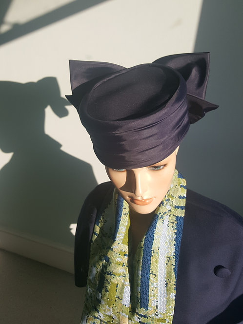 Vintage Whiteley navy satin pill box hat with huge rear bow