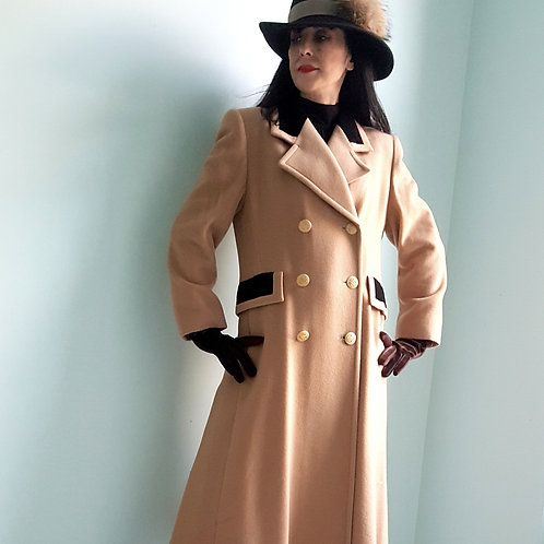 Vintage Harrods Coat by Mansfield Camel Cashmere & wool & deep chocolate velvet