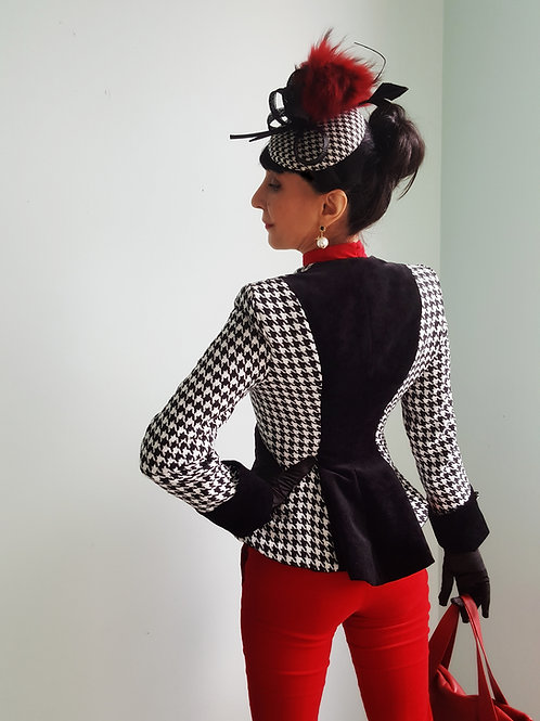 Houndsooth and Velvet Houndstooth Wool Jacket by Zorica Z
