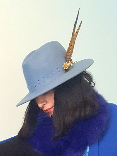 Sky Blue Wool Trilby with Gold vintage Rose brooch and Pheasant feathers