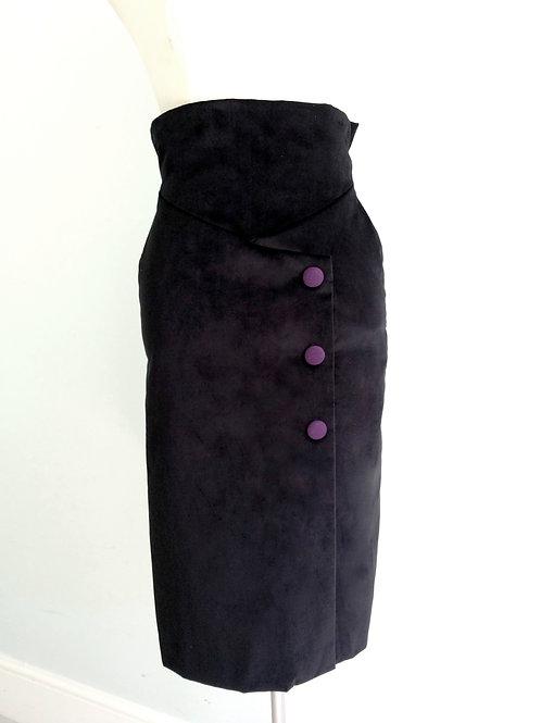 'Ava' high waist black velvet  pencil skirt with purple cashmere fabric buttons