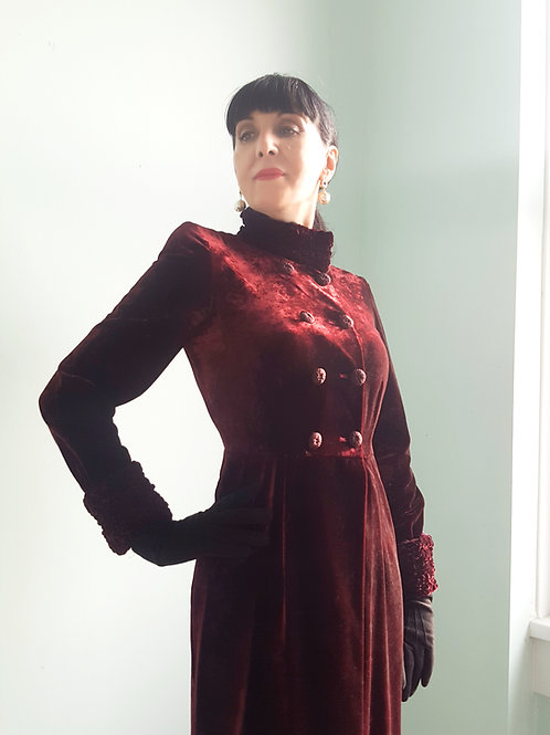 Early glamorous velvet coat-dress by Patsy Seddon