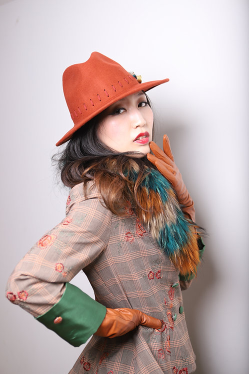 Green Russet and Grey Fur Collar