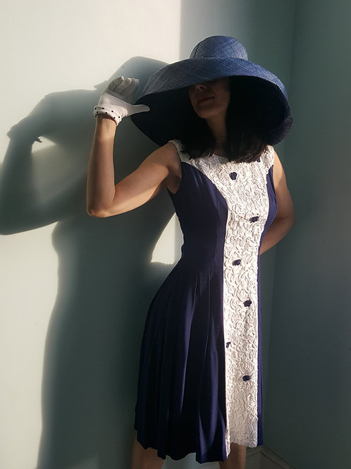 Original vintage navy & white 1950s/60s dress