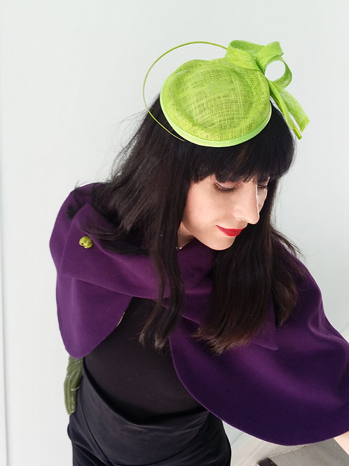 Lime green Sinamay hat with coiled quill