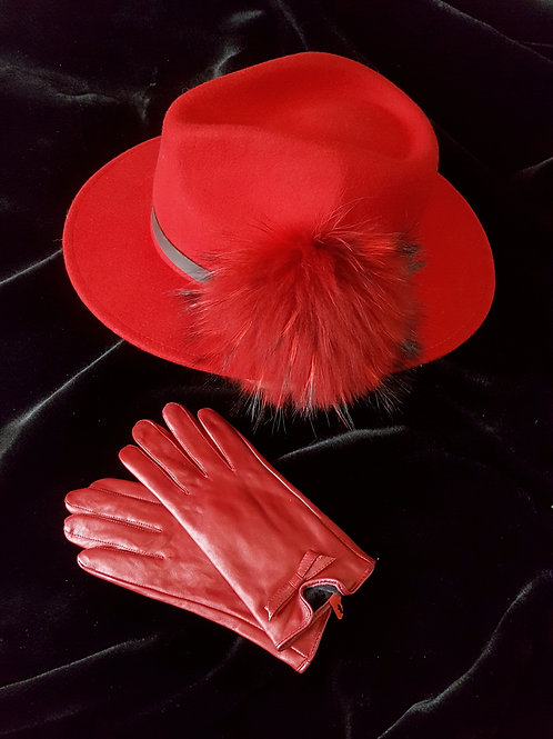 Hat & Glove set: Red Trilby with pom & leather gloves
