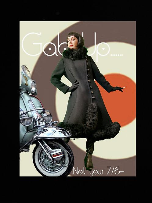 MOD 1960s black Wool Twill & sheepskin fur coat asymmetric buttoned