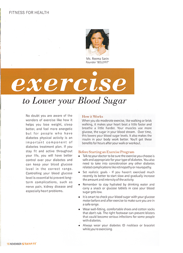 EXERCISE TO LOWER YOUR BLOOD SUNGAR