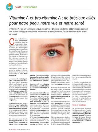 La vitamine A essentielle pour une belle peau et aussi pour une bonne vue!