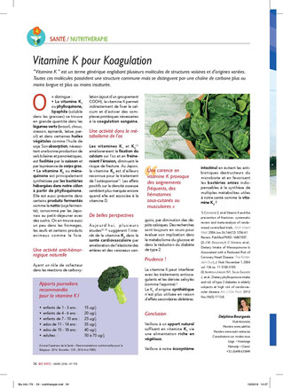 Vitamine K, de belles perspectives