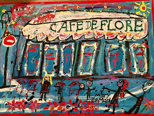 Cafe de Flore Acrylic on Paper UNFRAMED