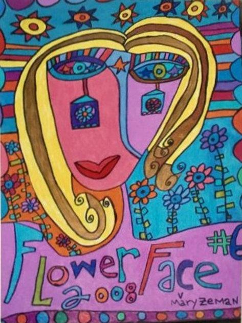"Flower Face Print 4""X5.25""(UNFRAMED)"