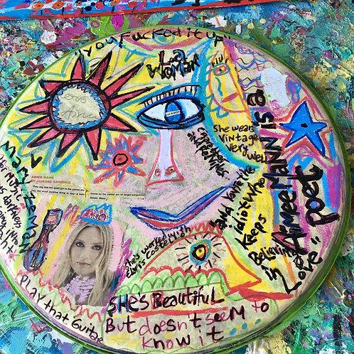 Aimee Mann Round Drum Original Art+Collage