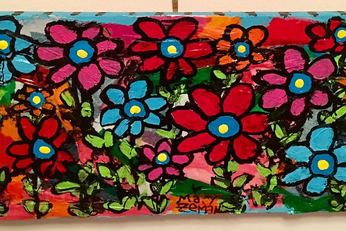 """Small Flowers"" Acrylic, Ink+ Tissue Paper on Canvas"
