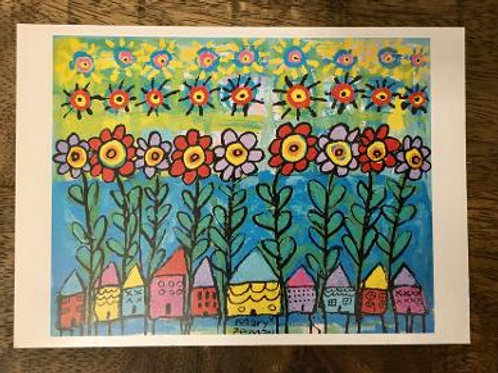 "Stilt Houses+Flowers Postcard 6""X 4"" LTD EDITION"