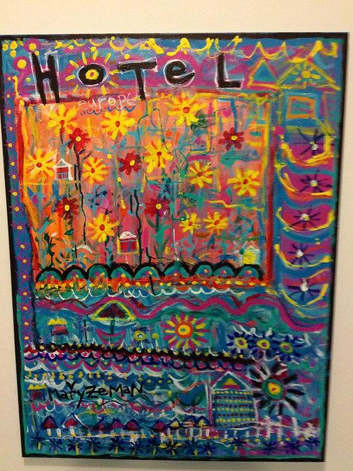 """Hotel Europe"" Acrylic, Housepaint & Ink on Canvas"