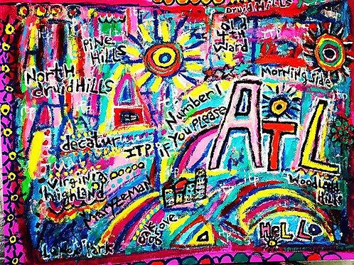 """Atlanta"" Acrylic, housepaint and ink on Canvas"