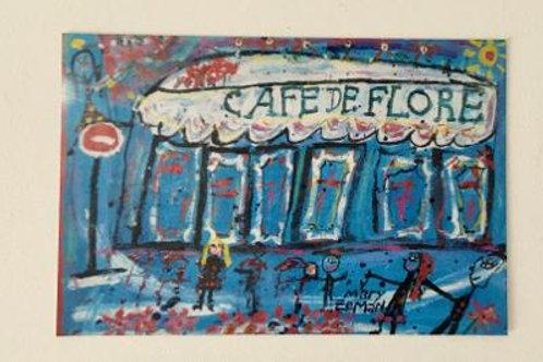 """Cafe de Flore Print 6""""X4"""" (UNFRAMED)"""